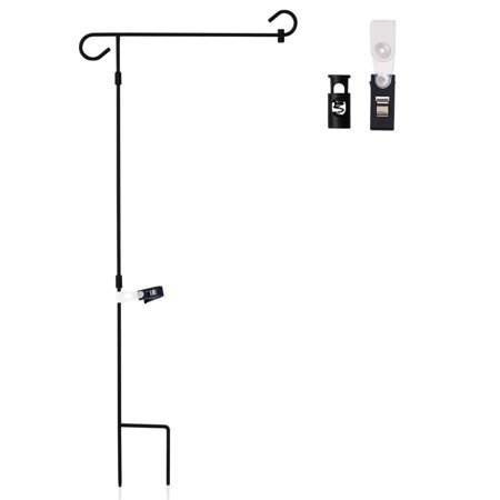 |Garden Flag Stand| Premium Wrought Iron Garden Flag Pole Holder - Weather Resistant Black Matte Coating - Easy Assemble - Free Flag Stopper and Anti-Wind Clip - 38 x 15 Inch](Flag Holder Case)