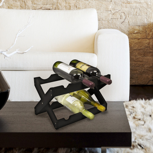 Bamboo Collapsible Countertop Wood Wine Rack, Holds 6 Bottles, Matte Black by GGI International