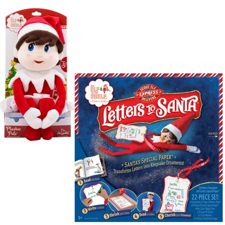 The Elf On The Shelf Bundle - 2pcs -The Elf on the Shelf Girl Plushee Pal - Light and Letters To