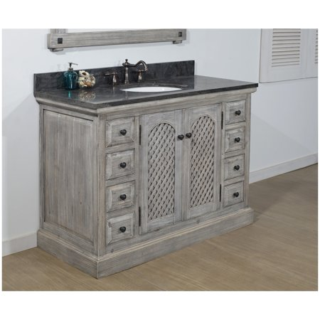 Infurniture Rustic Style 48-inch Bathroom Vanity in Distressed Grey-Driftwood Finish with Limestone Top- NO FAUCET Distressed Bathroom Vanities