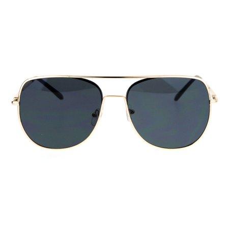 SA106 Mens Expose Lens Unique Flat Top Metal Aviator Sunglasses Gold (Mens Flat Top Sunglasses)