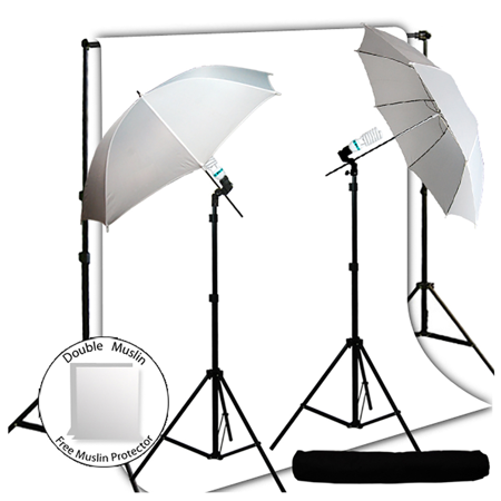 Loadstone Studio 600 Watt Photography Lighting Light Kit + 10' x 10' White Muslin Backdrop Background Photo Portrait Studio 33