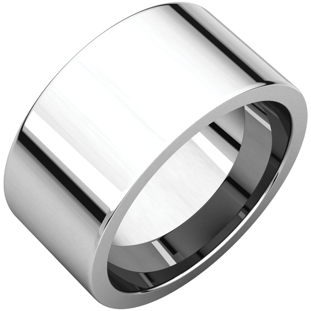 14K White Gold Flat Comfort Fit Wedding Band