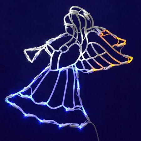 17 lighted led angel with horn christmas window