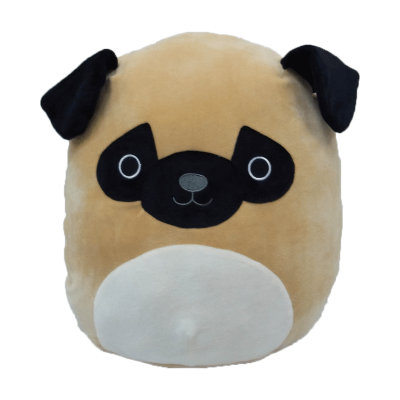 "Squishmallow 12"" Prince The Pug, Large Super Soft Pillow Plush"
