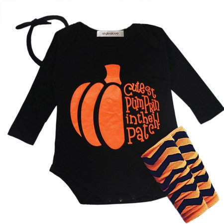 StylesILove Halloween Pumpkin 4-piece Baby Girl Costume Clothing Set (6-12 months) - Pumpkin Ideas For Halloween Girls