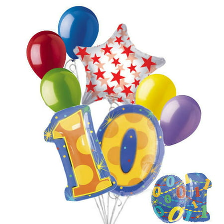 8 pc 10th Birthday Theme Balloon Bouquet Party Decoration Number Primary Color](Car Theme Decorations)