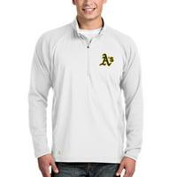 Oakland Athletics Antigua Sonar Quarter-Zip Pullover Jacket - White