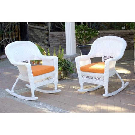 2 Piece Ariel White Resin Wicker Patio Rocker Chairs