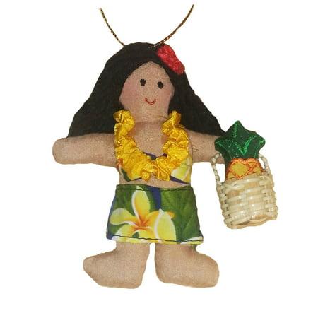 Christmas Pineapple - Hawaiian Pineapple Princess Girl Fabric Ornament