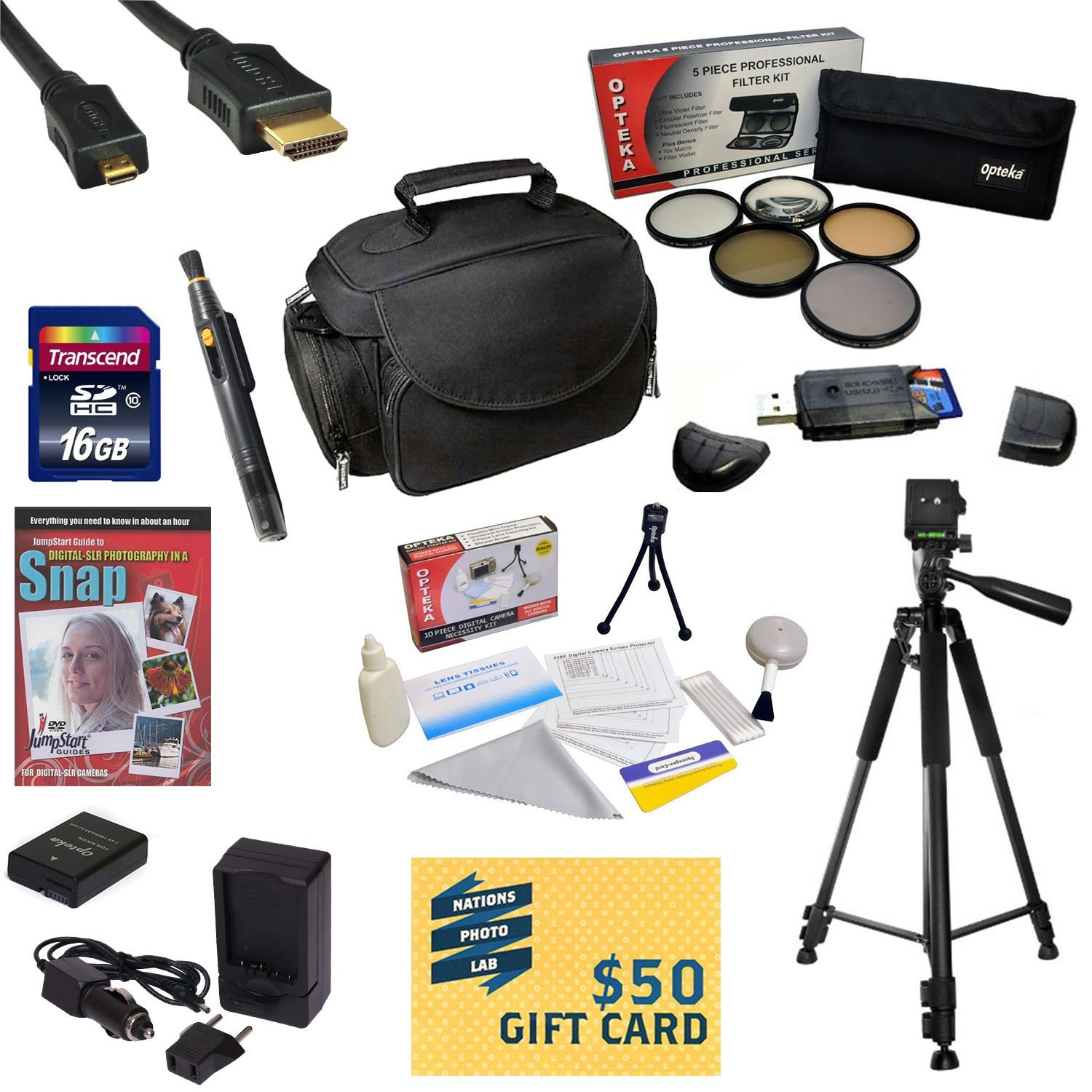 Best Value Kit for Nikon D50,D70, D80, D90 with 16GB SDHC Card, Extra Battery, Charger, 5 PC Filter Kit, HDMI Cable, Case, Tripod, Lens Pen, Cleaning Kit, DSLR DVD, $50 Gift Card, More