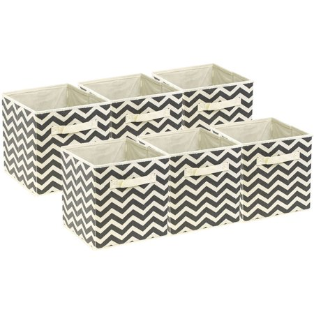 Sorbus Foldable Storage Cube Basket Bin, 6pk, Chevron Pattern - Tall Storage Bins