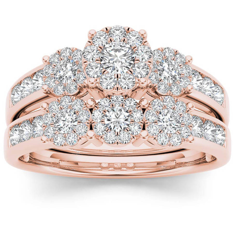 Imperial 1 Carat T.W. Diamond Cluster 10kt Rose Gold Engagement Ring Set by Imperial Jewels