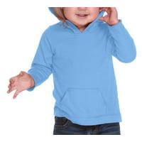 Kavio IJP0629 Unisex Infants Jersey RawEdge High Low Long Sleeve Hoodie w.Pouch-Azure-18M