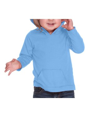 Kavio IJP0629 Unisex Infants Jersey RawEdge High Low Long Sleeve Hoodie w.Pouch-Azure-18M