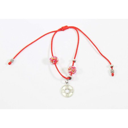 Red and Silver Adjustable Lucky Coin Bracelet Protection Blessing Gift -