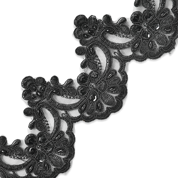 Expo Int'l 2 yards of Noreen Embroidered Organza Lace Trim with Pearls and Sequin