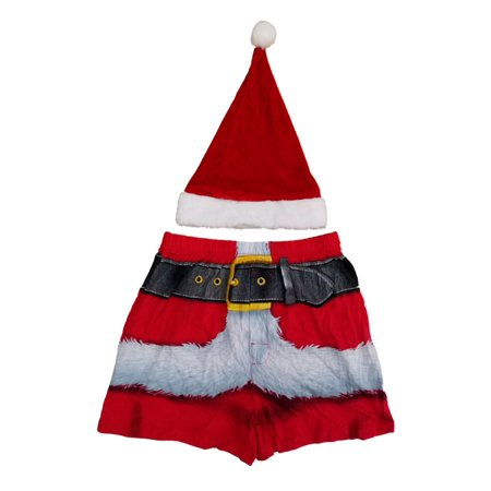 Mens Red Santa Claus Christmas Holiday Costume Boxer Shorts & Hat Set (Santa Shorts)