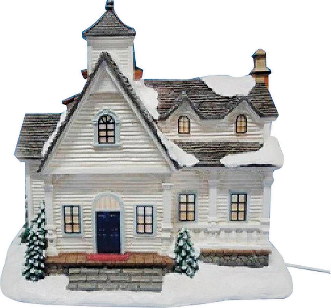 Santas Forest 29821 Christmas Village Farm House, White