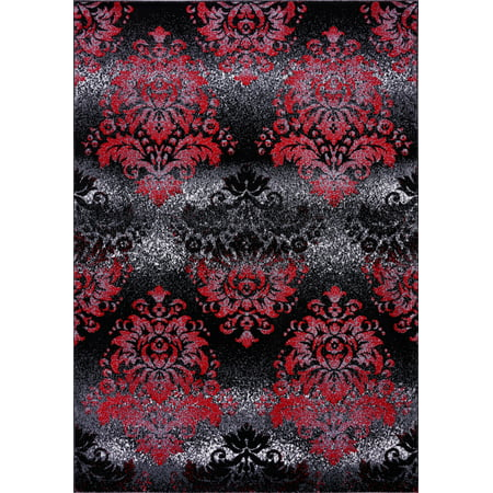 "Milan Red Black Damask Area Rug 3'9"" x 5'5"" - image 5 de 5"