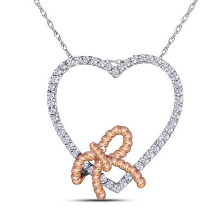 - 10kt White Gold Womens Round Diamond Rose-tone Rope Knot Bow Heart Pendant 1/6 Cttw = .15 Cttw (I3 Clarity, round cut)