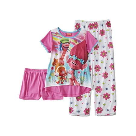 Girls Silky White  Trolls Movie Pajamas Poppy & Cooper 3 Piece Sleep Set 8 - Sissy Pajamas