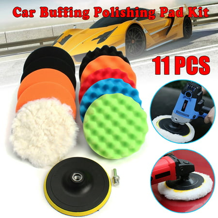 11Pcs 3 INCH Waffle Buffer Compound Waxing Polishing Wheel Tool Sponge Pad Drill Adapter Kit Set For Auto Car Polisher Select