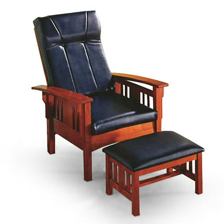 Mission Leisure Chair With Ottoman, Black & Oak