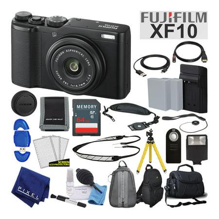 Fujifilm XF10 X-Series 24.2 MP Point & Shoot Digital Camera (Black) Advanced Bundle (Series Point And Shoot Camera)