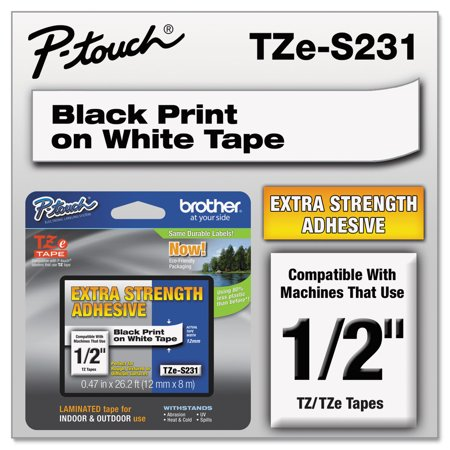 - Brother P-Touch TZe Extra-Strength Adhesive Laminated Labeling Tape, 1/2