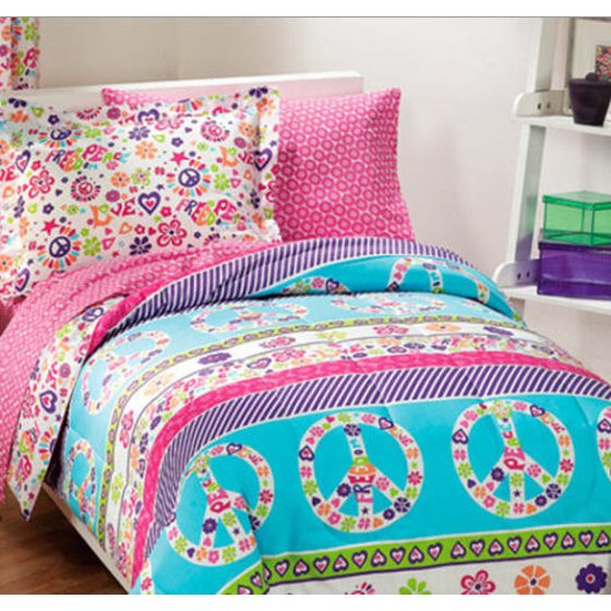 Pink Amp Blue Peace Signs Amp Love Twin Comforter Set 5 Piece
