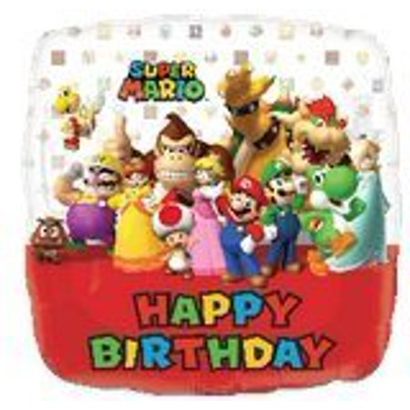 Super Mario Bros Square Birthday Balloons - 18 Inch Super Mario Birthday Balloons - 2 - Super Mario Bros Decorations