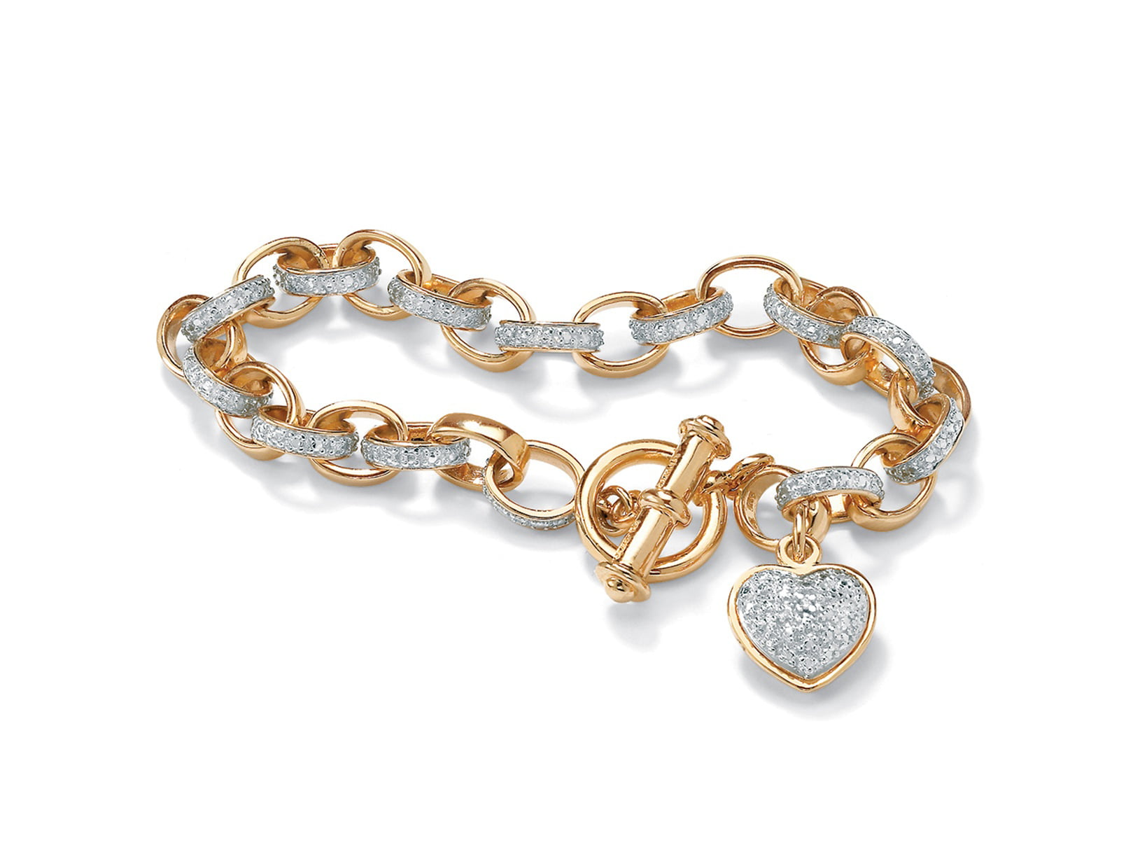 """Diamond Accent Heart Charm Bracelet in 18k Gold over Sterling Silver 7.25"""" by PalmBeach Jewelry"""