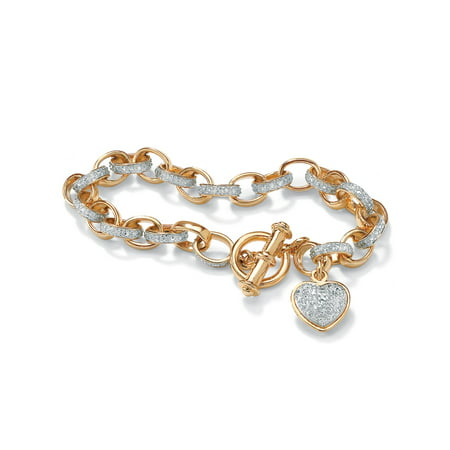 Diamond Accent Heart Charm Bracelet in 18k Gold over Sterling Silver 7.25