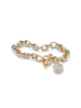 2a6ebf09f Product Image Diamond Accent Heart Charm Bracelet in 18k Gold over Sterling  Silver 7.25