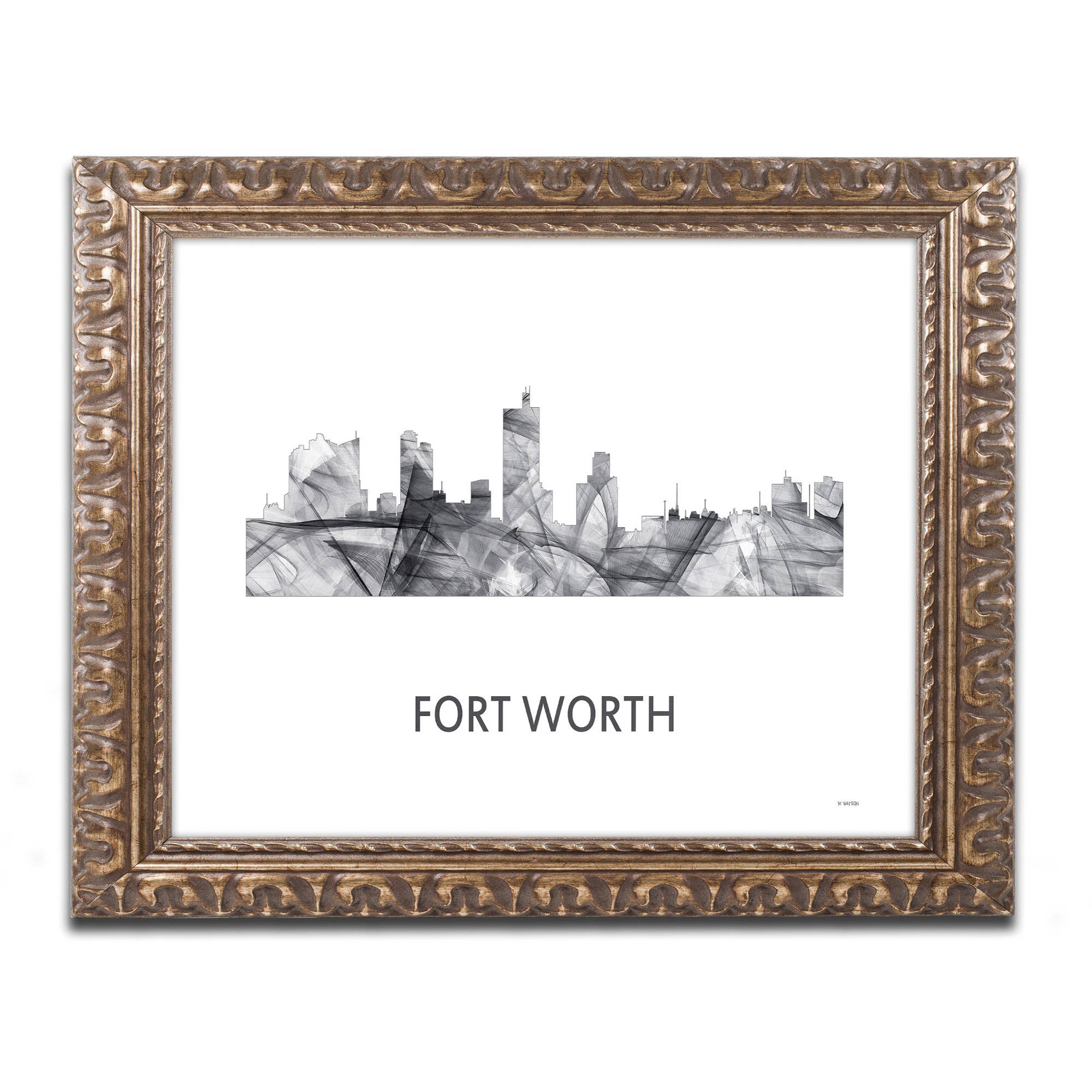 Trademark Fine Art 'Fort Worth Texas Skyline WB-BW' Canvas Art by Marlene Watson, Gold Ornate Frame