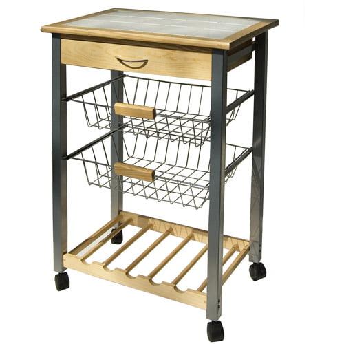 Neu Home Kitchen Cart with Wine Baskets, Pine