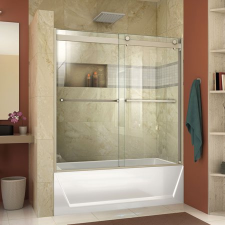 DreamLine Essence-H 56-60 in. W x 60 in. H Semi-Frameless Bypass Tub Door in Brushed Nickel