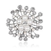 Women Luxury Fashion Crystal Snowflake Pearl Exquisite Brooches For Women Party Prom Jewelry