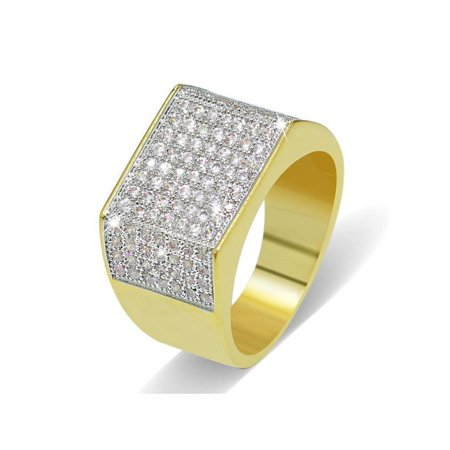 1 Pcs Fashion Diamond Gold Plated Ring Hip Hop Gangster Jewelry 4 Size](Gangster Fashion)