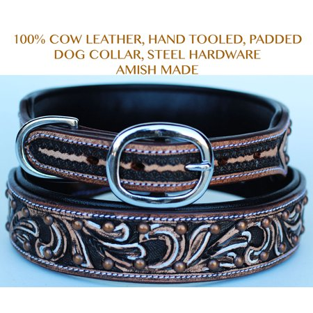Large Copper Horse - Bling Rhinestone Dog Puppy Collar Crystal Western Cow Leather  6016