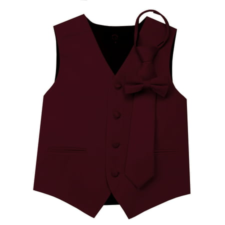 Italian Design, Boy's Tuxedo Vest, Zipper Tie & Bow-Tie Set - (Sleeveless Tuxedo)