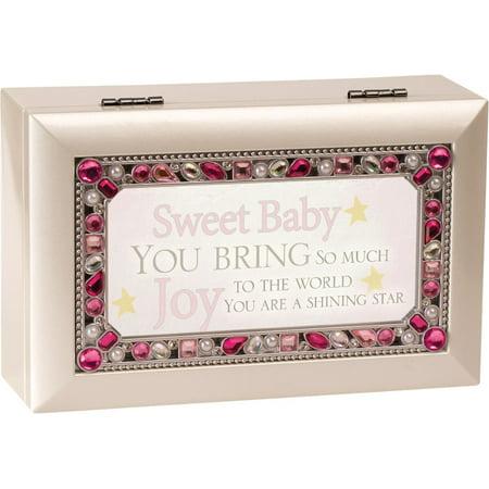 Sweet Baby You Jeweled Ivory Jewelry Music Box - Plays Tune You Are My Sunshine Bee Jeweled Box