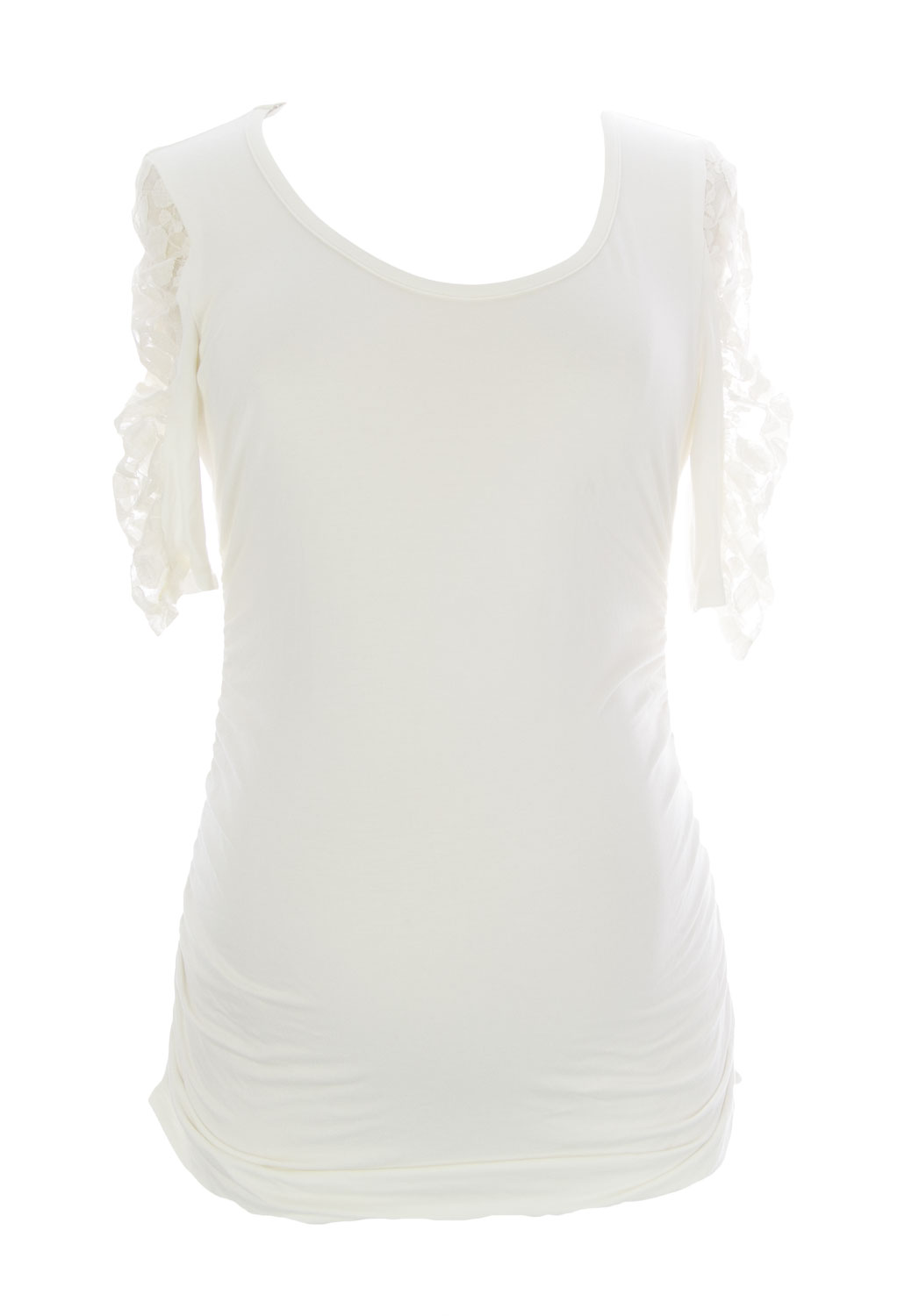 JULES & JIM Maternity Women's Top w/Lace Sleeves Medium Off-White
