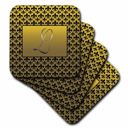 - 3dRose Elegant letter L embossed in gold frame over a black fleur-de-lis pattern on a gold background, Soft Coasters, set of 4