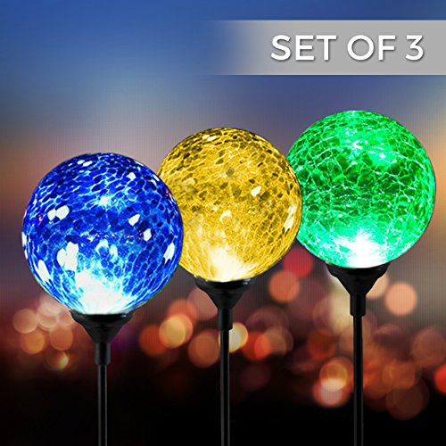 Solar Powered Crackle Glass Ball- 7 Color Changing Stake Lights- Set of 3- Weatherproof... by Garden Accents