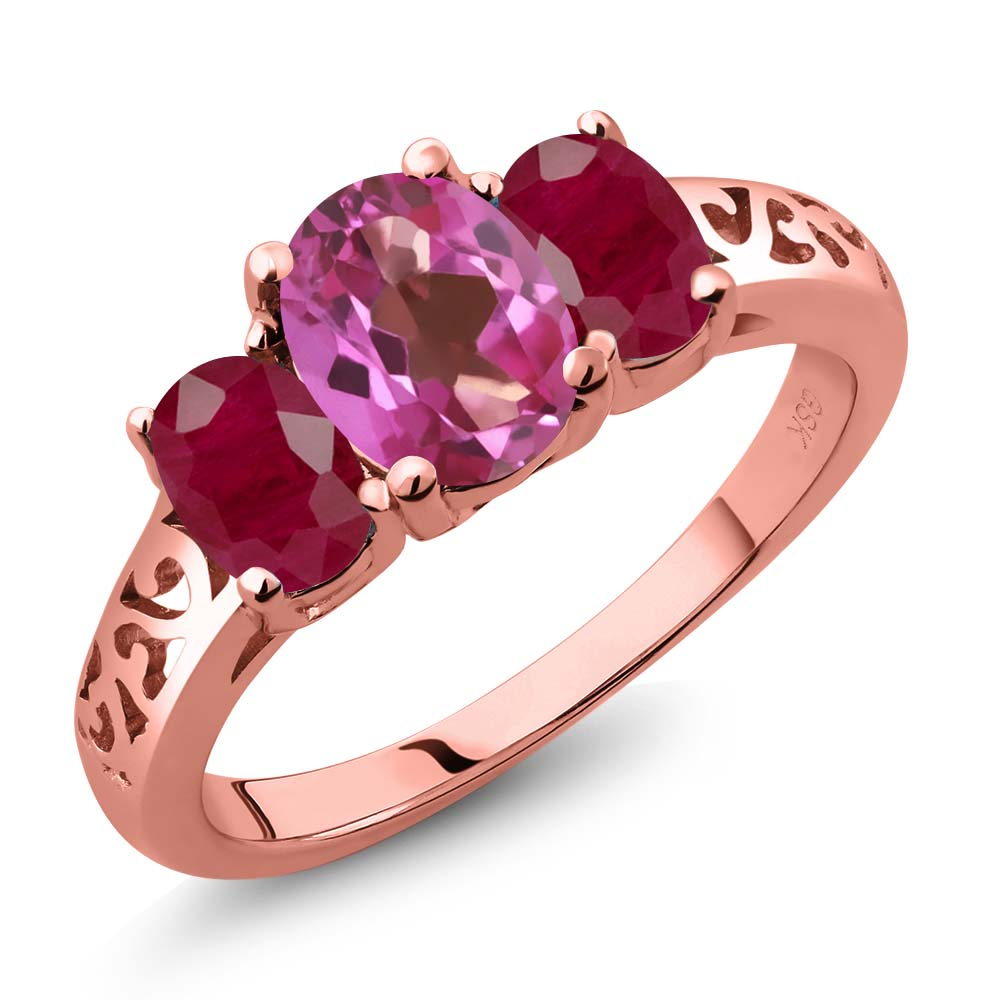 2.50 Ct Oval Pink Mystic Topaz Red Ruby 18K Rose Gold Plated Silver 3-Stone Ring by