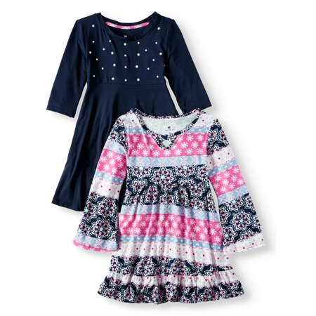 Girl Dress Sale (Girls' Print and Pearl Stud Soft Knit Dresses,)