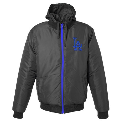 Men's JH Design Charcoal Los Angeles Dodgers Reversible Colorblocked Fleece Hooded Jacket by