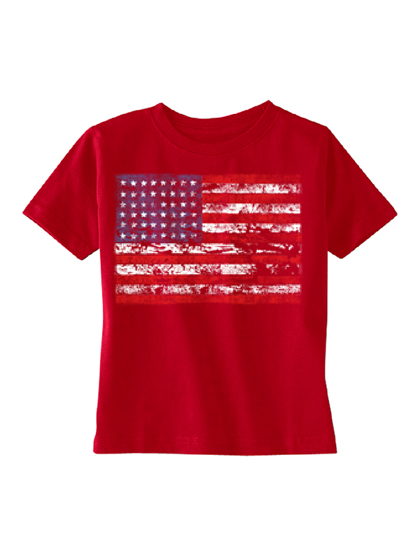 Distressed Atilt American Flag USA Toddler T-shirt Red 5T